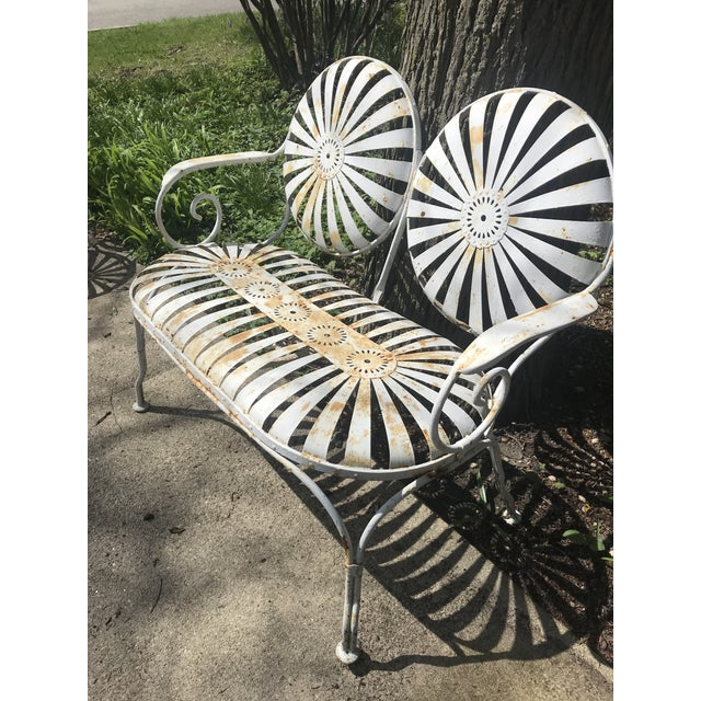 French Francois Carre French Sunburst Garden Bench For Sale - Image 3 of 13