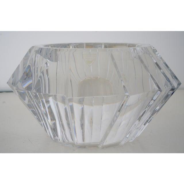 Orrefors Mid-Century Swedish Modern Orrefors Crystal Faceted Bowl For Sale - Image 4 of 12