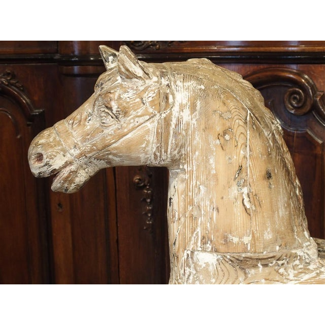 Antique Whitewashed Carousel Horse From Spain, Circa 1915 For Sale - Image 9 of 13