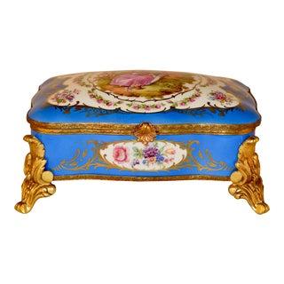 Sevres Style Porcelain Footed Dresser Box, C. 1920 For Sale