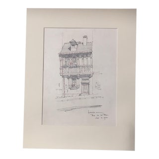 1920s Vintage Walter E. Church - Lisieux - Rue De La Paix French Pencil Drawing For Sale
