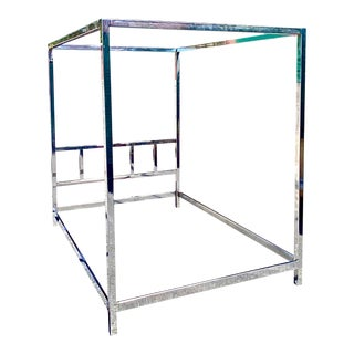 MCM Pace Collection Chrome Canopy Bed Frame For Sale