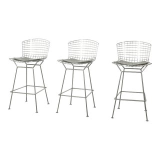 21st Century Vintage Knoll Bertoia Bar Stools- Set of 3 For Sale