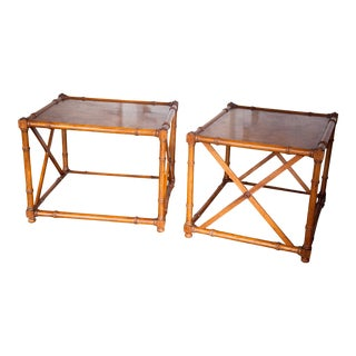 1960s Vintage Drexel Heritage Grand Tour Maple Burl Faux Bamboo Two Tiered Side Tables - a Pair For Sale