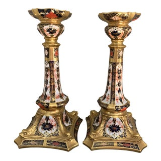 Royal Crown Derby Imari Gold Band Tall Candlesticks - a Pair For Sale
