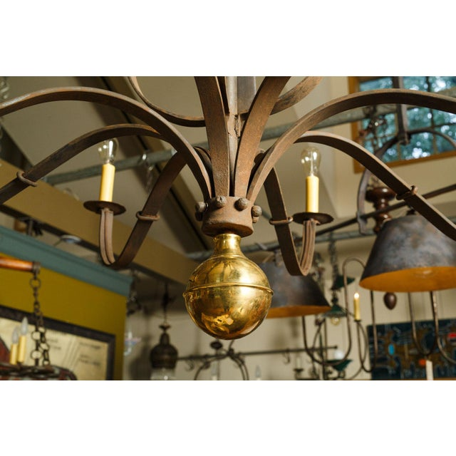 Monumental Two-Tier Forged Iron Chandelier For Sale - Image 9 of 10