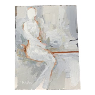 Contemporary Minimalist Figurative Nude Oil Painting on Metal Panel For Sale