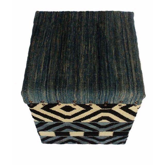 Delora Black/Ivory Kilim Upholstered Handmade Storage Ottoman For Sale In New York - Image 6 of 8