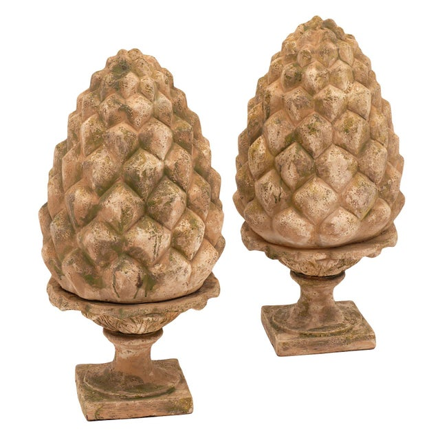 French vintage terracotta pine cones in nice condition. This important pair are impressive in size and from the Art Deco...