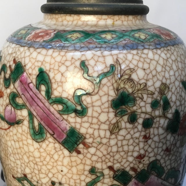 Metal 19th Century Antique Asian Hand Painted Table Lamps - a Pair For Sale - Image 7 of 13
