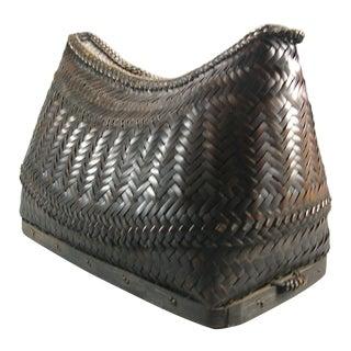 20th Century Filipino Ifugao Handwoven Covered Basket Box For Sale