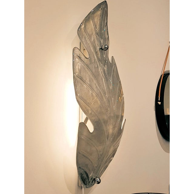 1970s Extra Large Mid Century Modern Silver Leaf Murano Glass Sconces Attr to Barovier- A Pair For Sale - Image 5 of 9
