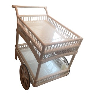 Country White Wicker Bar Cart For Sale