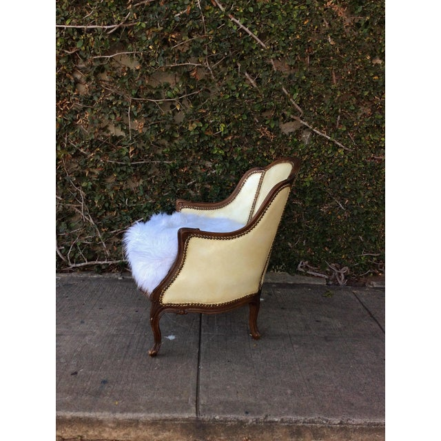 Vintage Leather & Faux Fur Club Chair For Sale - Image 4 of 10