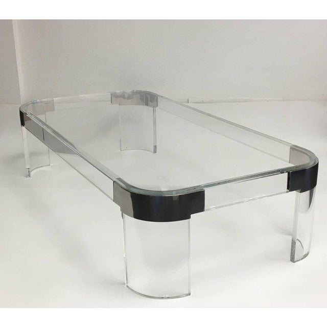 Modern Acrylic and Chrome Cocktail Table by Charles Hollis Jones For Sale - Image 3 of 7