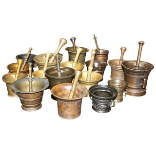 Collection of 17 Pharmacy Mortar and Pestles For Sale