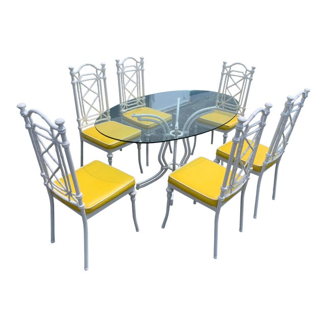 Vintage Kessler Chinoiserie Faux Bamboo Dining Set - 7 Pieces For Sale