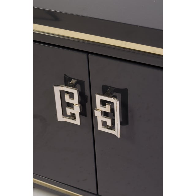 Mid-Century Grey Lacquer & Brass Greek Key Pulls Nightstands - Pair - Image 5 of 7