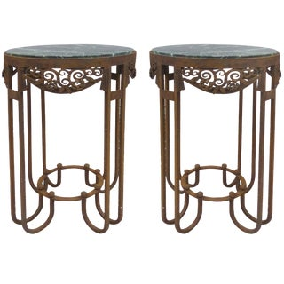 Paul Kiss French Art Deco Wrought Iron Marble Top Tables - a Pair For Sale