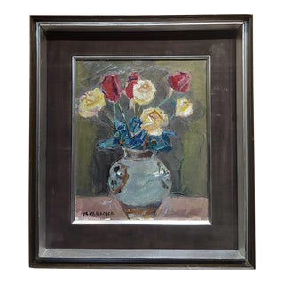 Masao Naraoka -Red & Yellow Roses in Still Life - Oil Painting For Sale