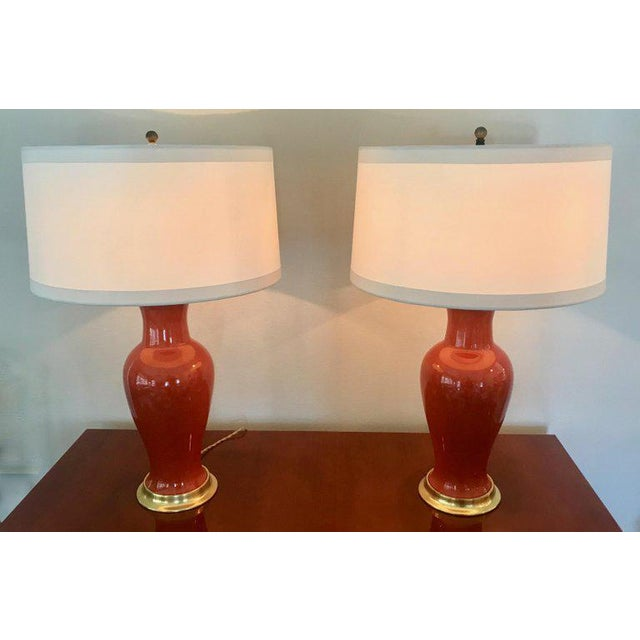 1960s 1960s Japanese Orange Porcelain Lamps - a Pair For Sale - Image 5 of 13