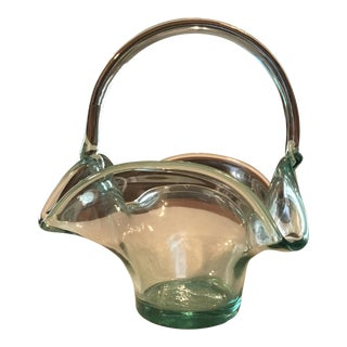 Hand Blown Art Glass Basket For Sale