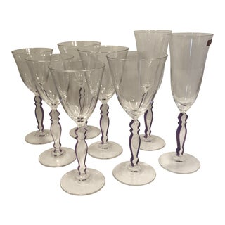 Contemporary Cristal d' Arques Wine, Claret, & Champagne Glass Stemware - Set of 8 For Sale