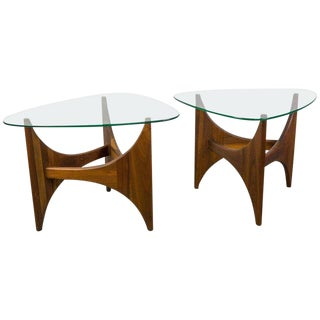 Pair of Walnut and Glass Coffee Tables by Adrian Pearsall For Sale