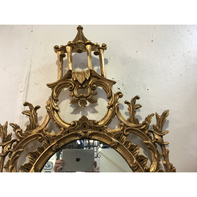 Asian Chinese Chippendale Style Giltwood Mirror For Sale - Image 3 of 8