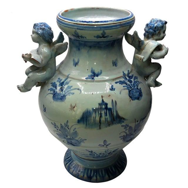 Italian Antique Majolica Italian Urn For Sale - Image 3 of 9