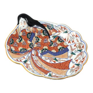 Vintage Hand-Painted Ceramic Asian Woman Sushi Plate Signed For Sale