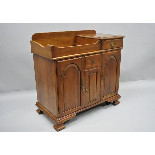Pennsylvania House Solid Cherry Wood Colonial Drysink Dry Sink Cabinet Server For Sale - Image 11 of 12