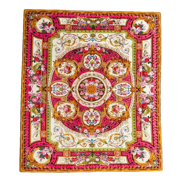1920's Antique English Chenille Rug 12 by 15 For Sale