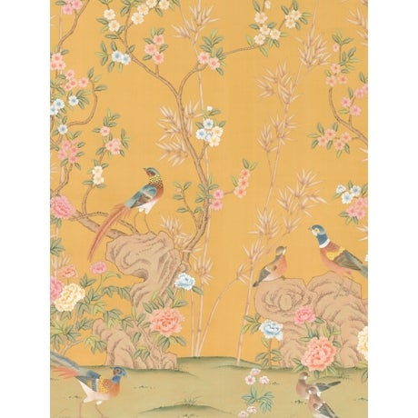 Chinoiserie Casa Cosima Golden Hadrian Diptych Wallpaper Mural - Sample For Sale - Image 3 of 3