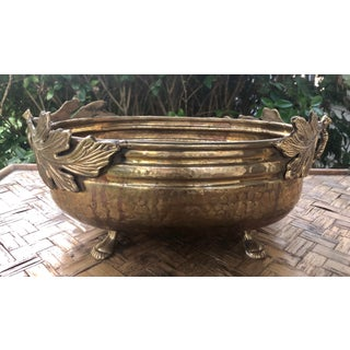Footed Brass Cachepot Planter With Leaf Handles Preview