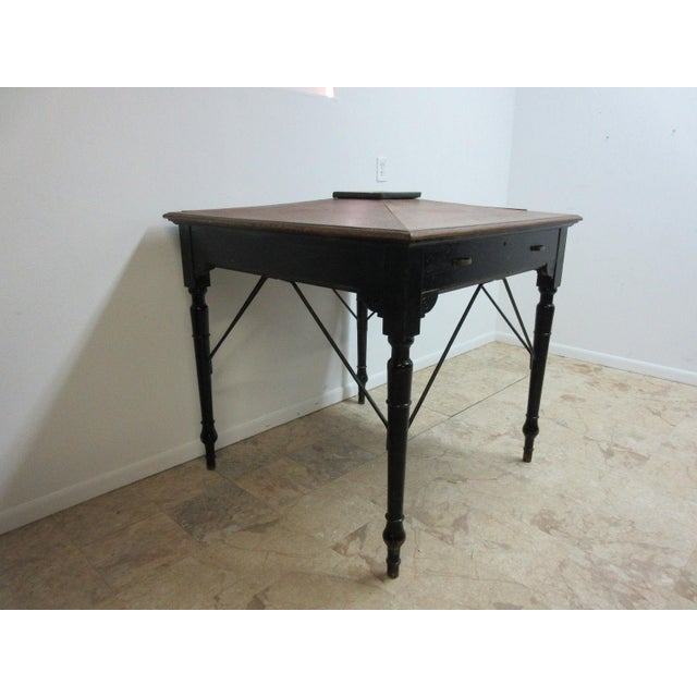 Measurements 60 x 32 x 50. Nice shape. Tight and sturdy. Age related wear, scratches. Painted black. Desk was purchased...