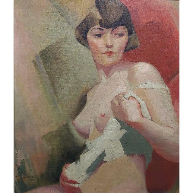 Art Deco Reva Jackman -1927 Art Deco & Cubism Nude Female Portrait-Beautiful Oil Painting For Sale - Image 3 of 10