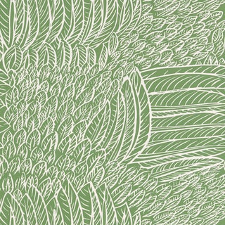 Sample - Schumacher Featherfest Wallpaper in Leaf For Sale