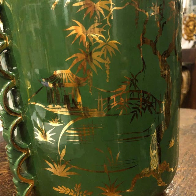 1960s Italian Mid-Century Modern Green and Gold Ceramic Vase For Sale - Image 10 of 13