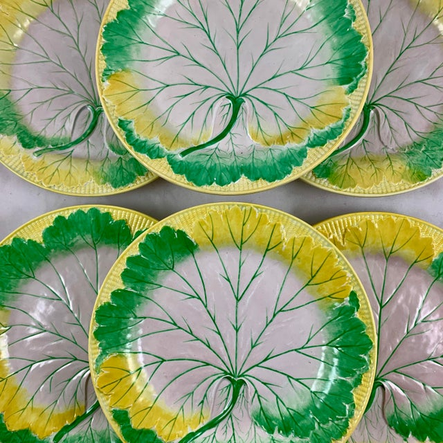 English Josiah Wedgwood Pearlware Hand Enameled Cabbage Leaf Plates, Dated 1860, Set / 6 For Sale - Image 3 of 13