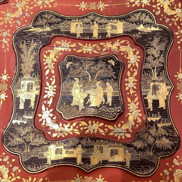 Traditional 19th Century China Trade Gilt Lacquer Box Table For Sale - Image 3 of 5