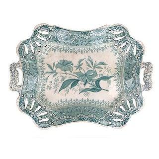 English Green Transferware Platter For Sale
