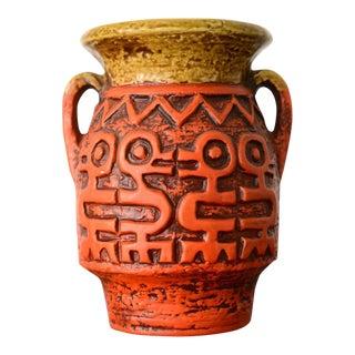 Mid-Century Ceramic Vase With Relief Primitive Bird Motif For Sale