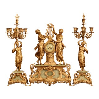 Important 19th Century French Gilt Metal and Onyx Clock Set Signed E Rancoulet