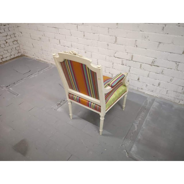 Vintage French Reupholstered Louis XVI Style Shabby Chic White Armchair For Sale - Image 9 of 12