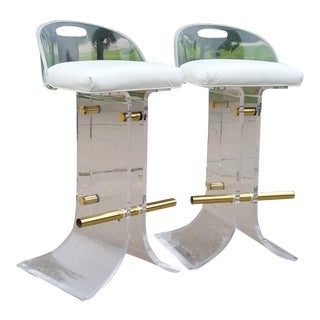 Vintage Charles Hollis Jones Style Lucite Stools - a Pair For Sale
