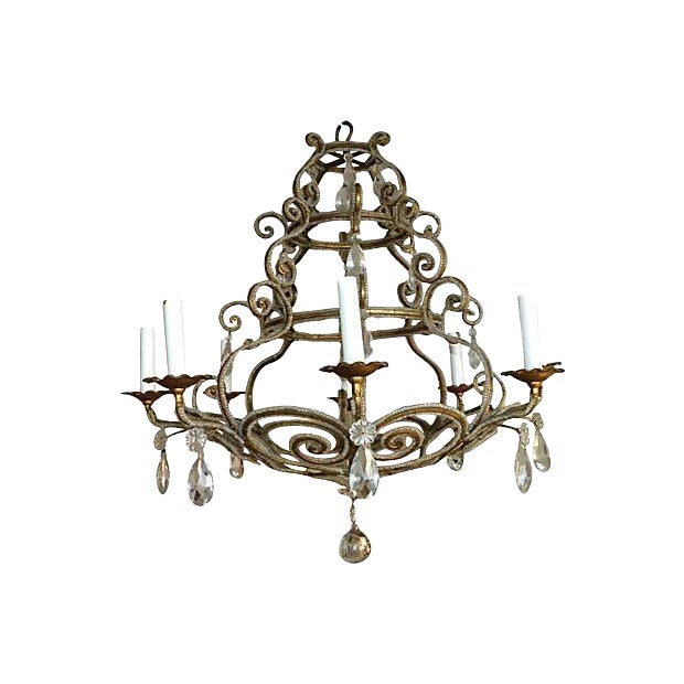 Chandelier with Crystal and Intricate Beading For Sale