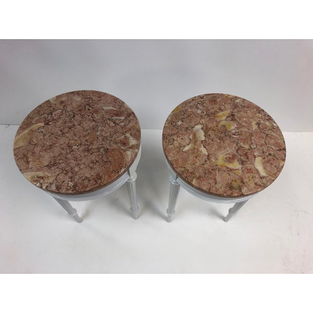 Pair Hollywood Regency Marble Top Side Tables For Sale In New York - Image 6 of 7