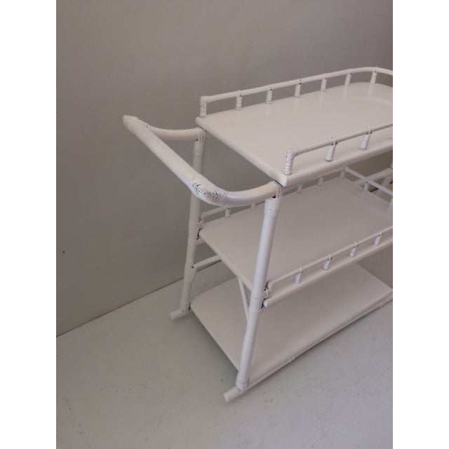 1970s Regency White Rattan Regency Bar Cart For Sale - Image 4 of 13