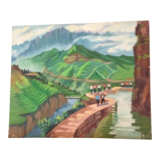 Chinese Rice Paddies Oil Painting For Sale